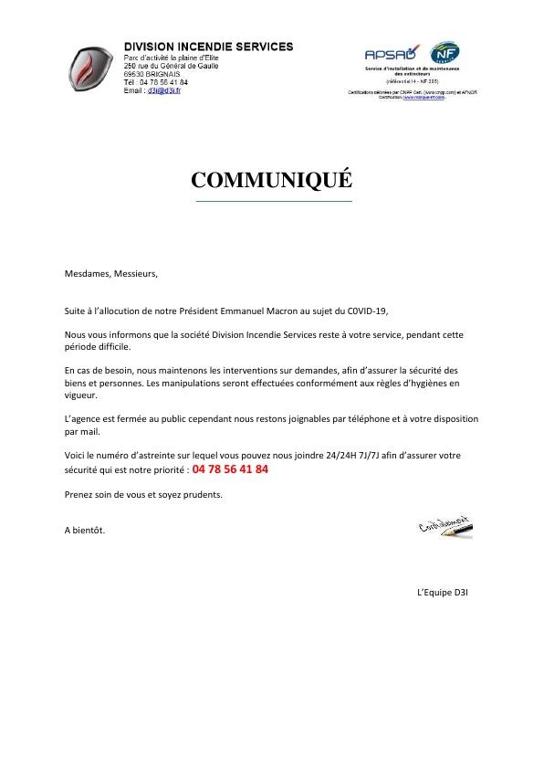 Communiqué - Mesures de prévention COVID-19